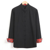 Mens Fashion Stand Collar Buttons Long Sleeve Casual Shirts