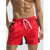 Men Stitching Drawstring Quick Dry Board Shorts