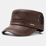 Collrown Men's PU Leather Flat HatS Casual With Knit Hats Warm Hats
