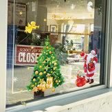 Miico SK9243 Etiqueta de Navidad Ventana Árbol de Navidad Pegatinas de pared extraíbles para decoración navideña