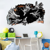 Miico FX64099 Halloween Autocollant 3D Horror Sticker Amovible Sticker Mur Décoration de la Chambre