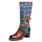 SOCOFY Bohemian Printing Leather Mid Calf Boots