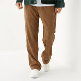 Mens Vintage Corduroy Solid Color Loose Fit Casual Pants