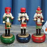 32CM Bảo vệ gỗ Nutcracker Soldier Đồ chơi Hộp nhạc Giáng sinh Trang trí Xmas Quà tặng