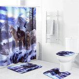 1/3/4 Pcs Snow Wolf Cortina de chuveiro à prova d 'água Banheiro Conjunto de tapete de cobertura de toalete antiderrapante Pedestal Rug Kit