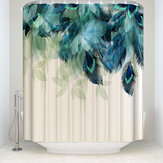 180X180CM Watercolor Decor Shower Curtain Peacock Feather Pattern Waterproof Polyester Fabric Bathroom Shower Curtains