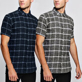 Men Short Sleeve Plaid Check Shirt Slim Fit Casual Formal Dress Shirt Top Blouse