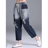 XL-5XL Casual dames-broek met gaten