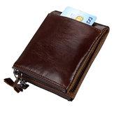 Men RFID Genuine Leather Short Double Zipper Wallet
