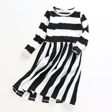 Kid Girls Casual Long Sleeve Striped Dress with Pocket
