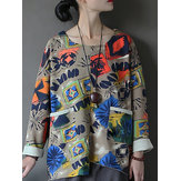 Vintage Women Long Sleeve Printed Front Pockets Irregular Sweatshirt