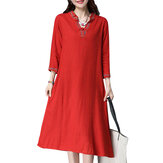Women Vintage Embroidery Dress Plus Size V Neck Chinese Style Dresses