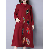 Ethnic Women Long Sleeve Printing Patchwork Pocket Dress