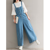 Casual Women Denim Wide Leg Jumpsuits