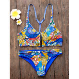 2pcs Stretch Double Design Front Closure Sporty Swimwear