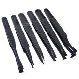 6 قطعة ملاقط بلاستيكية سوداء مضادة للكهرباء الساكنة أداة إصلاح مقاومة للحرارة