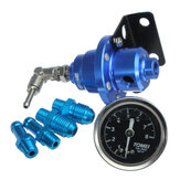 Adjustable Fuel Pressure Regulator With Filled Oil Gauge Aluminum Blue