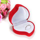 1 Double Ring Box Velvet Red Heart Flower Shaped Jewelry Storage Case