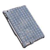 Tecido de microfibra caso de pele estilo de calor estampagem denim para o ipad 2 3