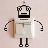 Siyah Robot Anahtarı Sticker Salon Yatak Odası Duvar Afişi Ev Dekoru