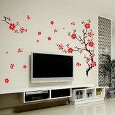 Vermelho árvore flores da flor de parede removível para automóveis