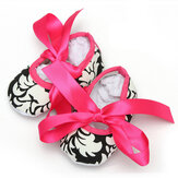 Baby Girls Cotton Crib Shoes Soft Sole Printed Damask Bow 0-18M