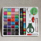 100pcs coser portátil de tijera cinta métrica aguja kit enhebrador conjunto dedal