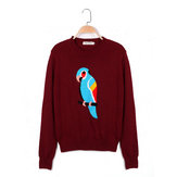 Zanzea Parrot Pattern Long Sleeve Round Collar Knitted Sweater