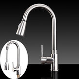 Copper Single Lever Pull Out Rinser Kitchen Mixer Tap Brushed Bathroom Sprayer Basin Sink Faucet