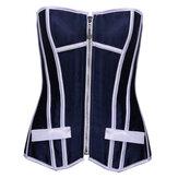 Blue White Striped Comfortable Women Corset
