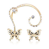 18K Gold Plated Rhinestone Butterfly Ear Clip Stud Earrings Jewelry