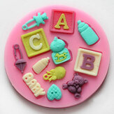 F0490 Silicone Baby Letter Bear Cake Mould Fondant Decoration Mould