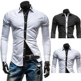 Mens Black and White Contrast Color Casual Slim Fit Long Sleeve Shirt