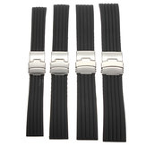 18/20/22 / 24mm Black Silicone Sports Watch Band