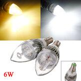 E14 6W 3 LED weiße / warme weiße LED Kronleuchter Kerze-Glühlampe 85-265V