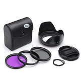 52mm UV CPL FLD Filter Kit With Petal Flower Lens Hood For Nikon