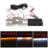 12V 2X6 LED Bulb Amber White Car Flash Warning Emergency Strobe Light Lamp Bar