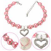 Animal de estimação do cão de cristal pérolas pingente de colar colar de charme coração rosa