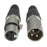Male and Female 3-Pin XLR Microphone Audio Cable Plug Connectors