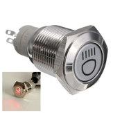 12V 16mm Self cerradura Interruptor de botón LED Interruptor para automóviles Impermeable Interruptor