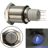 12V 16mm Waterproof Momentary Horn Metal Push Button Switch Blue LED Lighted