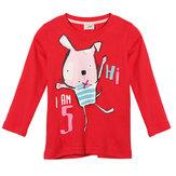 2015新しいリトルMaven夏の赤ちゃんの女の子の子供ウサギレッドコットンロングスリーブTシャツ