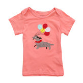 2015 New Little Maven Baby Girl Children Dog Rood Katoen Korte Mouwen T-shirt Top