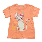 2015 New Little Maven Baby Girl Children Gato camiseta de manga corta de algodón naranja