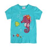 2015 New Summer Baby Girl Children Sea Horse Green Cotton Short Sleeve T-shirt