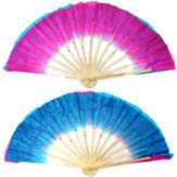 Ventilador de Danza Folklórica de Bambú de Seda de Doble Color Hecho a Mano de Chino Ventilador de Baile del Vientre
