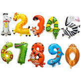 16 inch aluminiumfolie Animal Number Balloons Verjaardagspartij Decoratieballon