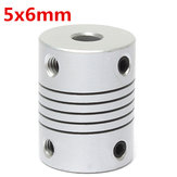 5mm x 6mm Aluminum Flexible Shaft Coupling OD19mm x L25mm CNC Stepper Motor Coupler Connector