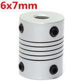 6mm x 7mm Aluminium Flexibele As Koppeling OD19mm x L25mm CNC Stepper Motor Coupler Connector