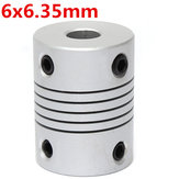 Conector acoplador od19mm x l25mm cnc motor paso a paso de acoplamiento eje flexible de 6 mm x 6.35 mm de aluminio
